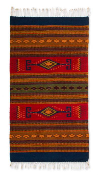 Hand Made Zapotec Red Wool Area Rug (2.6x5)