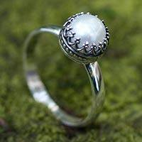 Cultured pearl cocktail ring, 'Taxco Royalty' - Regal White Pearl Silver Ring