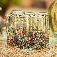 Blown glass shot glasses, 'Carnival' (set of 6) - Hand Blown Tequila Shot Glasses Set of 6 Multicolor Mexico