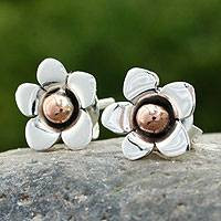 Silver button earrings, 'Taxco Wildflower'