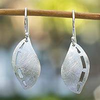 Silver dangle earrings, 'Whisper of a Leaf' - Unique Fine Silver Dangle Earrings
