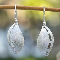 Silver dangle earrings, 'Whisper of a Leaf'