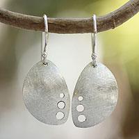 Silver dangle earrings, 'Forest Sigh' - Artisan Crafted Women's Fine Silver Earrings