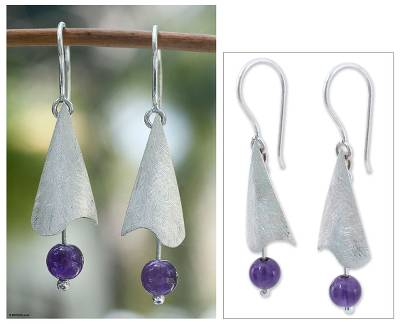 Amethyst dangle earrings, 'Kites in Cancun' - Amethyst dangle earrings