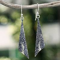 Silver dangle earrings, 'High Sierra Hills' - Silver dangle earrings