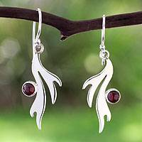 Garnet dangle earrings, 'Free Spirit' - Garnet dangle earrings