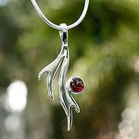 Garnet pendant necklace, 'Free Spirit' - Artisan Crafted Garnet Necklace
