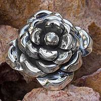 Sterling silver flower pendant, 'Moonlit Rose' - Sterling Silver Flower Pendant