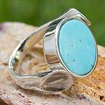 Handmade Sterling Silver Turquoise and Obsidian Ring, 'Duality'