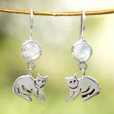 Moonstone dangle earrings, 'Cool Kitty Cat' - Sterling Silver and Moonstone Kitten Earrings