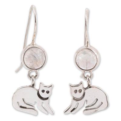 Moonstone dangle earrings, 'Cool Kitty Cat' - Sterling Silver and Moonstone Kitten Earrings