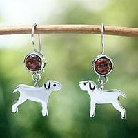 Garnet dangle earrings, 'Pampered Puppy Dog' - Silver Dangle Earrings Depicting Dogs and Featuring Garnets