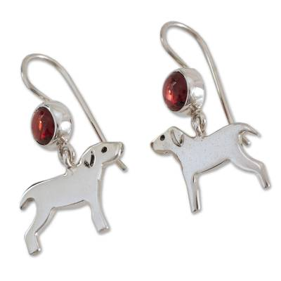 Garnet dangle earrings, 'Pampered Puppy Dog' - Dog Garnet Sterling Silver Dangle Earrings Mexico