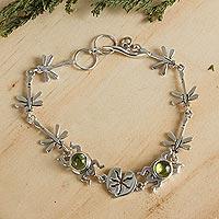 Peridot link bracelet, 'Lucky Green Frogs' - Peridot link bracelet
