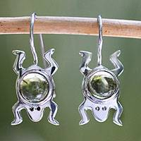 Peridot drop earrings, 'Lucky Green Frog'