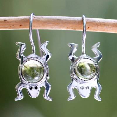 Peridot drop earrings, 'Lucky Green Frog' - Sterling Silver and Peridot Good Luck Earrings
