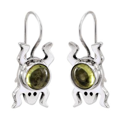 Peridot drop earrings, 'Lucky Green Frog' - Sterling Silver and Peridot Good Luck Earrings