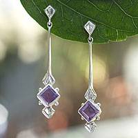 Amethyst drop earrings, 'Taxco Romance' - Fair Trade Modern Sterling Silver Amethyst Earrings