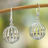 Sterling silver dangle earrings, 'Taxco Trends' - Delicate Mexican Sterling Silver Globe Dangle Earrings