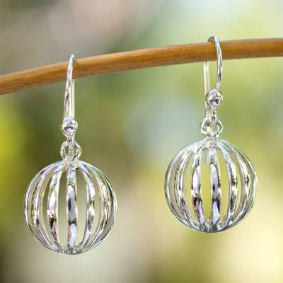 Sterling silver dangle earrings, 'Taxco Trends' - Hand Crafted Modern Sterling Silver Dangle Earrings