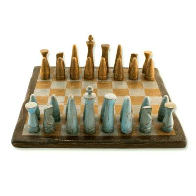 Wood chess set, 'Evening on the Ranch' - Unique Mexican Chess Set Game