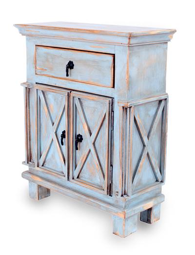 Wood bureau, 'Antique Blue Crisscross' - Handmade Rustic Wood Cabinet  Furniture from Mexico - Handmade Rustic Wood Cabinet Furniture From Mexico - Antique Blue