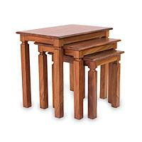 Parota wood nesting tables, 'Hacienda' (set of 3)