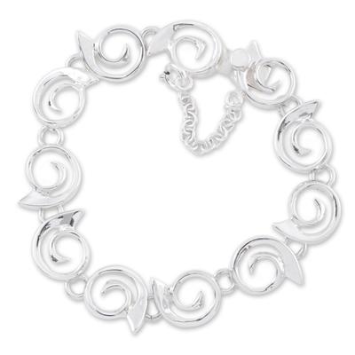 Sterling silver link bracelet, 'Soulful' - Sterling silver link bracelet