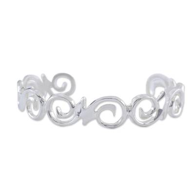 Fair Trade Sterling Silver Cutout Spiral Cuff Bracelet