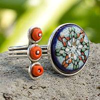 Sterling silver and ceramic wrap ring, 'Star of Mexico' - Artisan Crafted Silver and Ceramic Wrap Ring