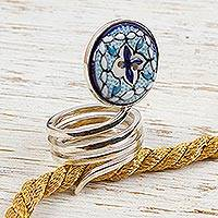 Sterling silver and ceramic wrap ring, 'Light of Peace' - Sterling silver and ceramic wrap ring