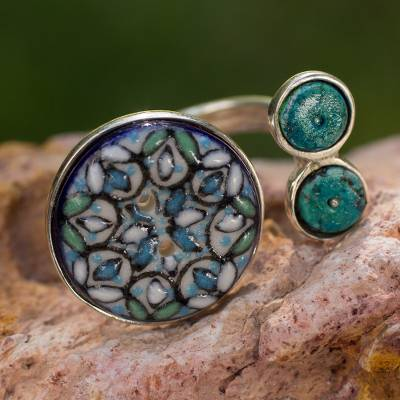 Sterling silver and ceramic wrap ring