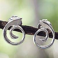 Sterling silver button earrings, 'Soulful'