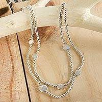 Sterling silver beaded necklace, 'Luminous Moons' - Modern Taxco Silver Beaded Necklace
