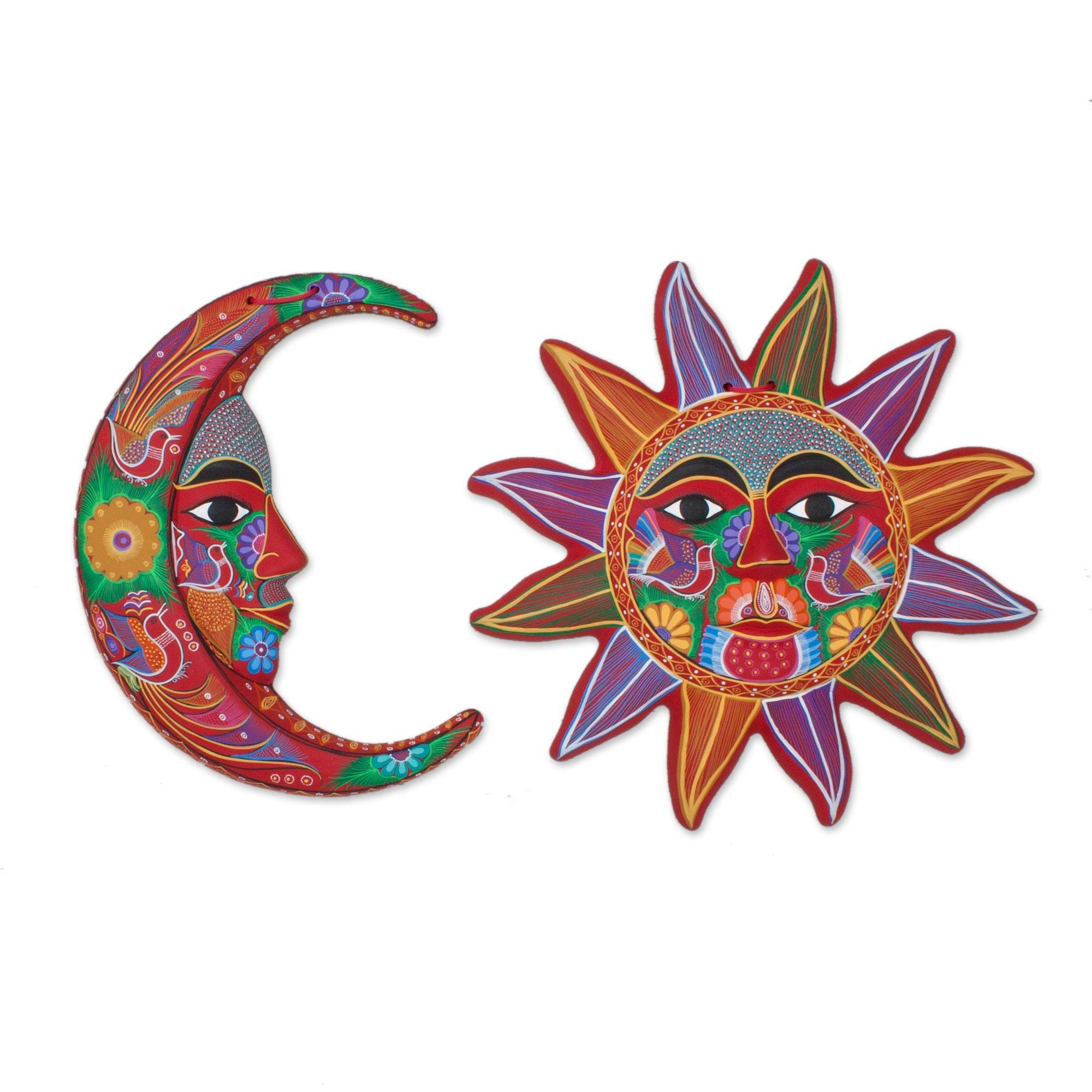 Sun And Moon Wall Art fair trade sun and moon ceramic wall art from mexico (pair