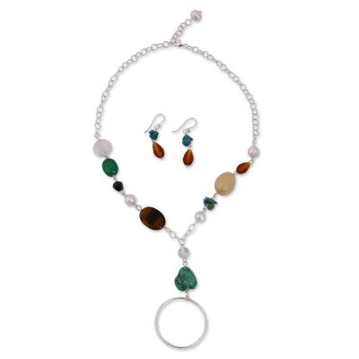 Cultured pearl and quartz jewelry set