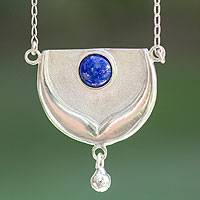 Lapis lazuli pendant necklace, 'Taurus, Land of the Bull' - Collectible Zodiac Sterling Silver Lapis Lazuli Necklace