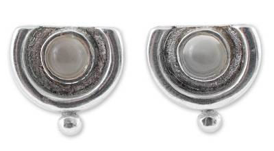 Handcrafted Sterling Silver Button Moonstone Earrings
