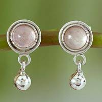 Rose quartz dangle earrings, 'Dream of Love' - Handcrafted Sterling Silver and Rose Quartz Dangle Earrings