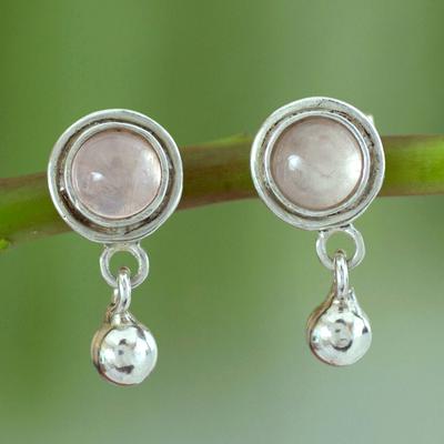 Rose quartz dangle earrings, 'Dream of Love' - Unique Sterling Silver Rose Quartz Earrings