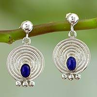Lapis lazuli dangle earrings, 'Transformation' - Unique Sterling Silver Lapis Lazuli Earrings