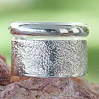 Sterling silver band ring, 'Taxco Melody' - Unique Modern Sterling Silver Band Ring from Mexico