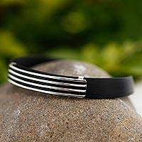 Men's sterling silver bracelet, 'Journey to Taxco' - Men's Collectible Taxco Silver and Black Rubber Bracelet