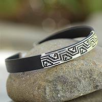 Men's sterling silver bracelet, 'Taxco Frieze' - Men's Mexican Taxco Silver Black Rubber Wristband Bracelet