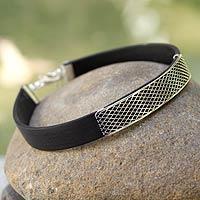 Men's sterling silver bracelet, 'Taxco Gridlock'