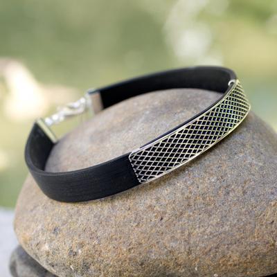 Men's sterling silver bracelet, 'Taxco Gridlock' - Hand Made Men's Taxco Silver Wristband Bracelet