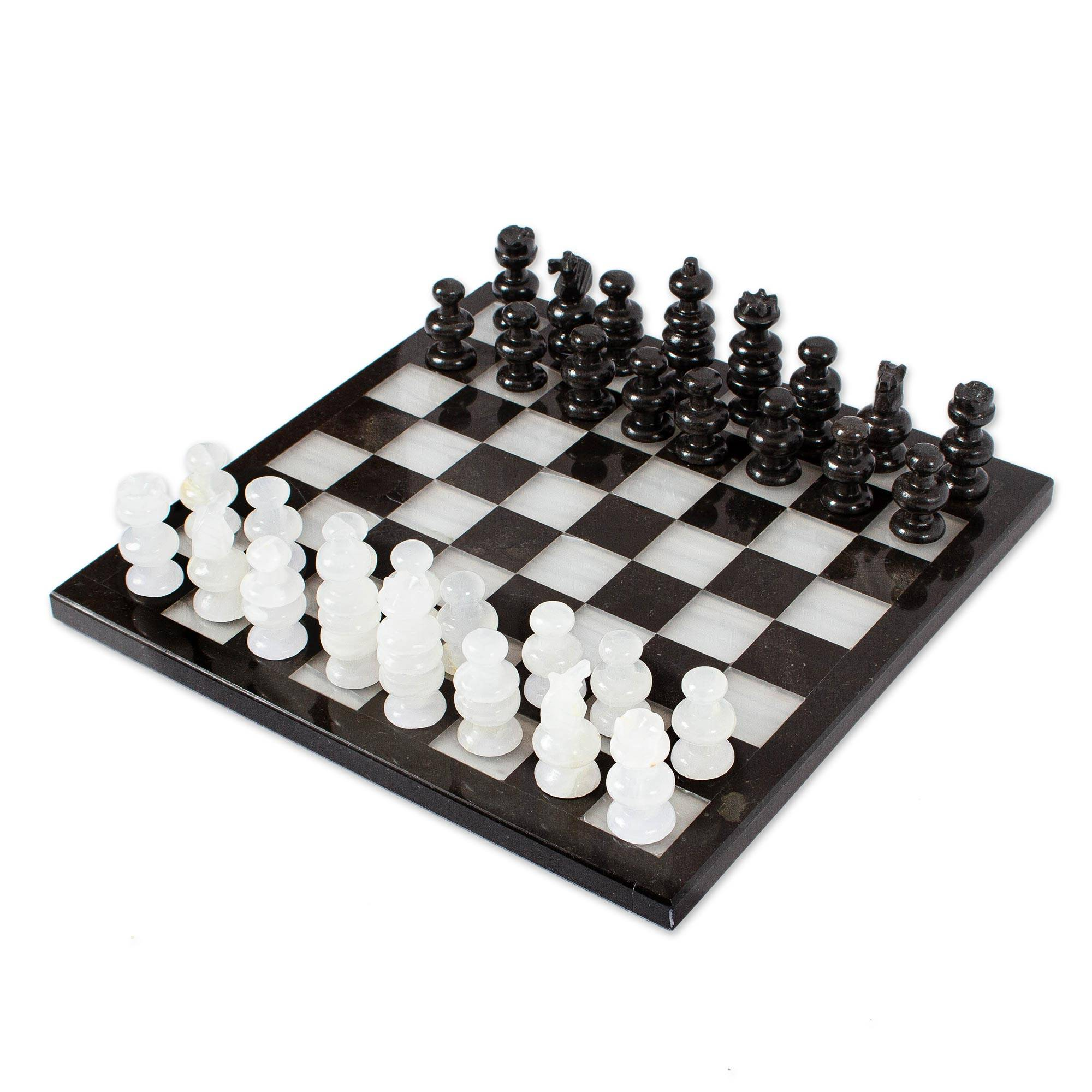 Kiva store collectible stone chess set triumph - Granite chess pieces ...