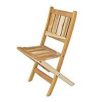 Teakwood folding chair, 'Mexican Sierra' - Teakwood folding chair