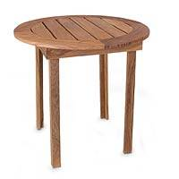 Wood round accent table, 'Paradise Hacienda' - Wood round accent table