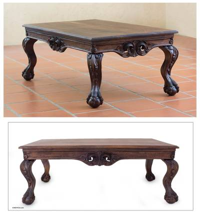 Traditional Dark Wood Coffee Table Mexican Manor House
